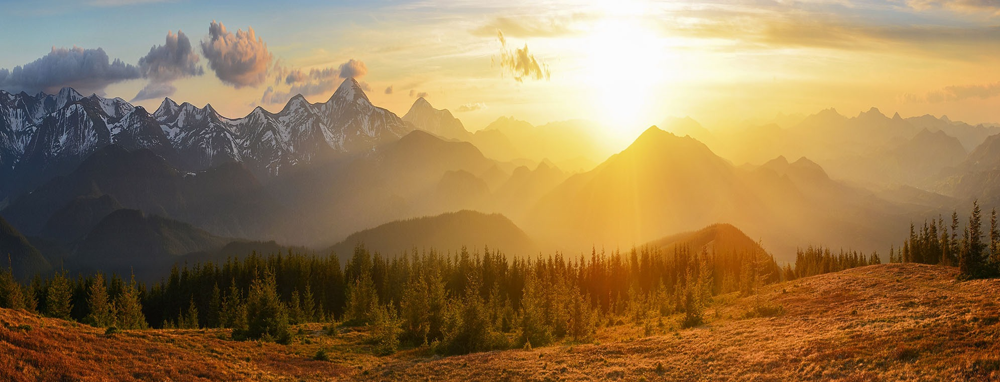 Canvas Prints - Sunset Mountains