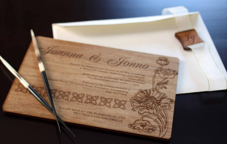 wood engraved wedding invitation
