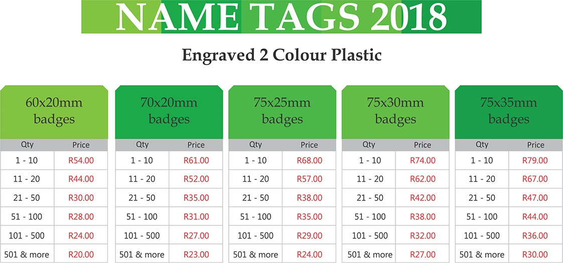 engraved 2 colour plastic name tag prices