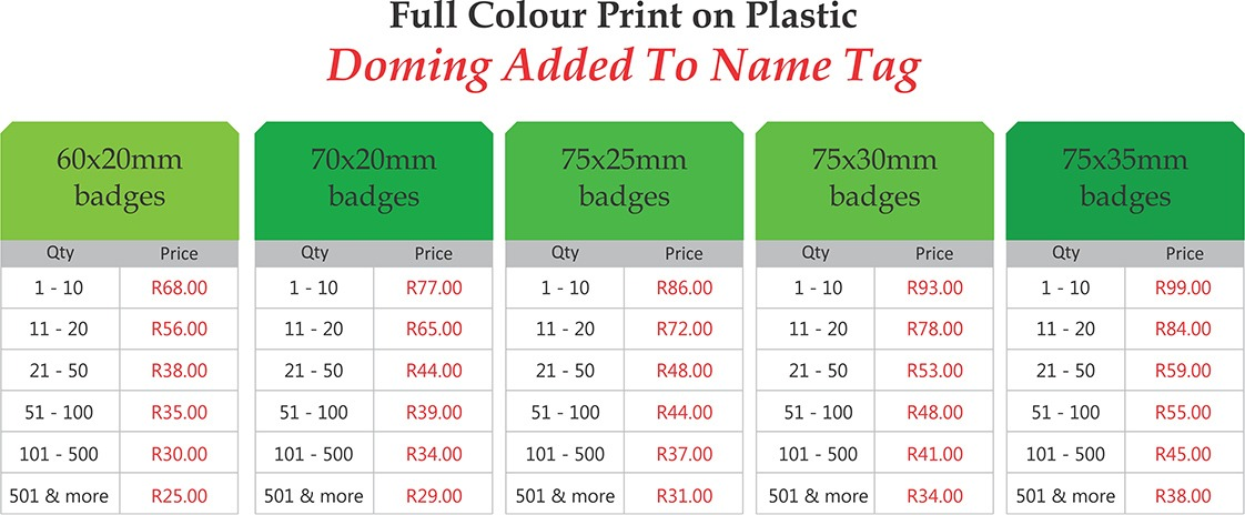 full colour printed name tag prices