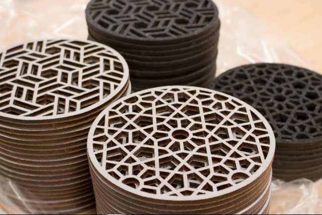 leather laser cutting to make coasters