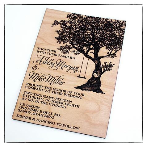 wood engraving for wedding invitation