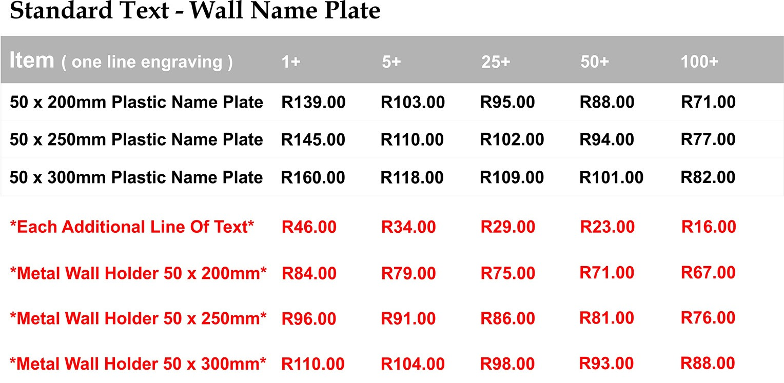 wall name plate prices